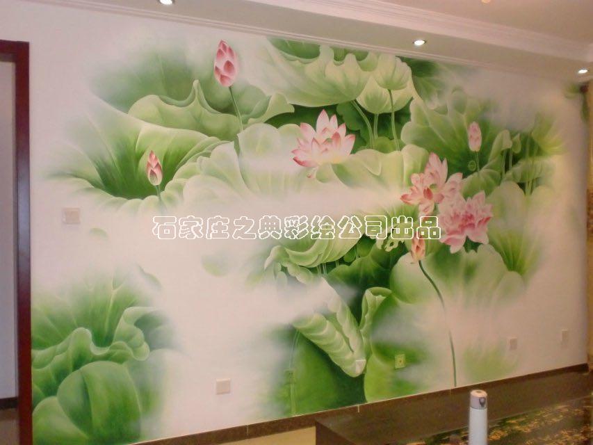 石家庄墙体彩绘-家居荷花主题墙体彩绘案例图片
