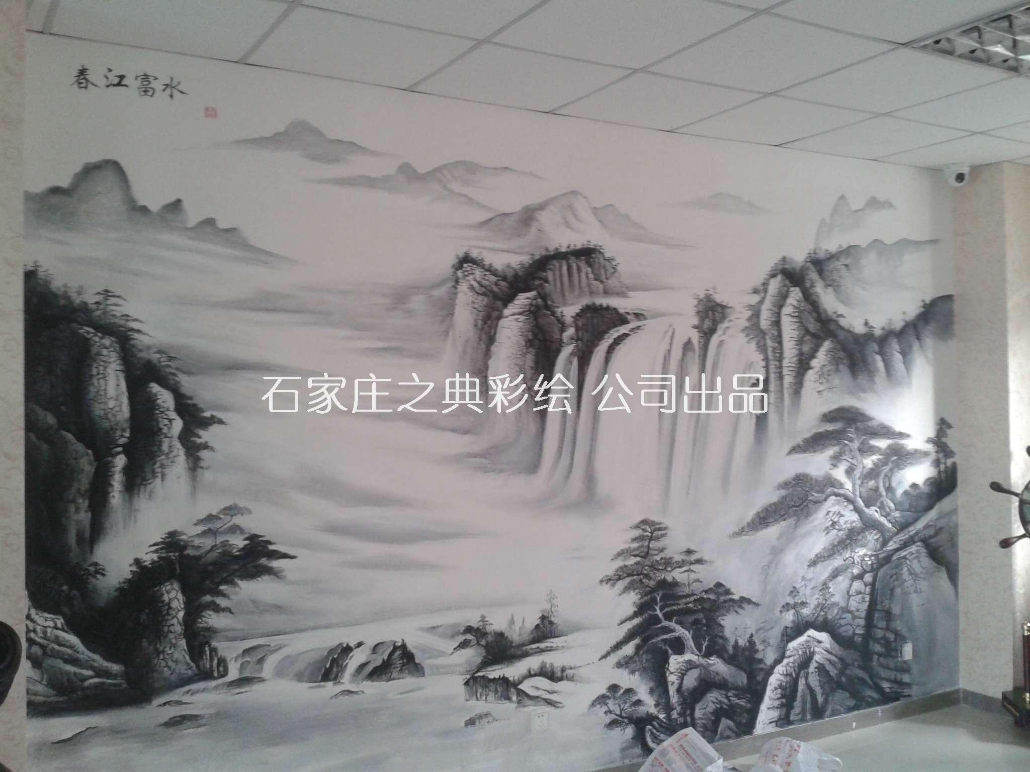 墙体彩绘山水画《春江富水》|手绘背景墙画