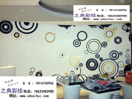 售房部手绘墙画采用简洁的圆形气泡装饰与黑色和土黄颜色搭配再加上