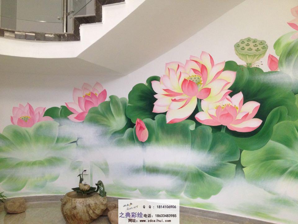 墙体彩绘-手绘荷花